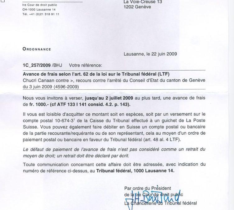 Le Tribunal fédéral facture Fr 1'000.- par recours